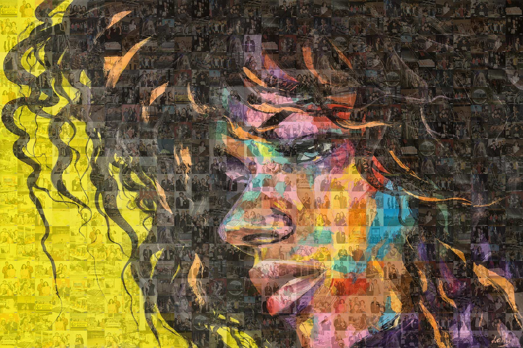 Stunning Visual of a completed mosaic wall featuring a close up shot of a female with bright multi color tiles.